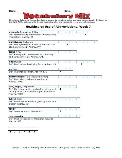 Vocabulary Mix Medical Terms Week 7 - Georgia CTAE