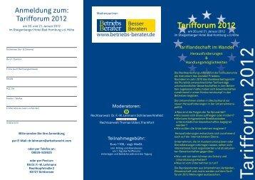 Tarifforum 2012 - Arbeitsrecht