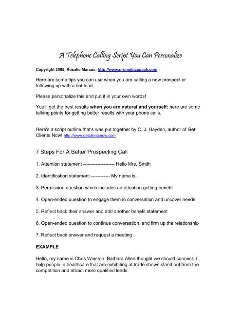 A Telephone Calling Script You Can Personalize - Promo Biz Coach