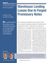 Warehouse Lending Losses Due to Forged Promissory ... - DRI Today