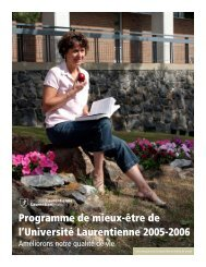 Programme de mieux-être de l'Université Laurentienne 2005-2006