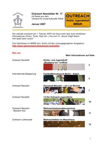 Outreach Newsletter Nr. 17 Januar 2007 - Spinnenwerk