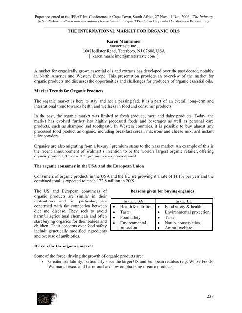 THE INTERNATIONAL MARKET FOR ORGANIC OILS ... - IFEAT