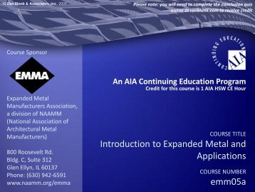 Introduction to Expanded Metal and Applications emm05a