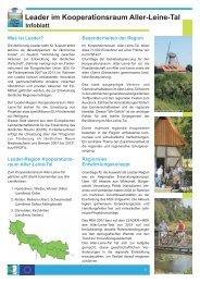 Infoblatt - bei Leader im Aller-Leine-Tal