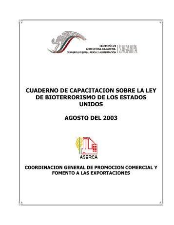 Cuaderno De Capacitacion Sobre La Ley De Bioterrorismo
