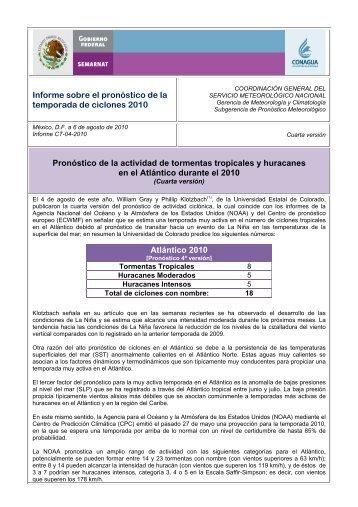 Informe sobre el pronóstico de la temporada de ciclones 2010 ...