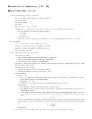 Introduction to Astronomy (GES 131) Review Sheet for Test #1