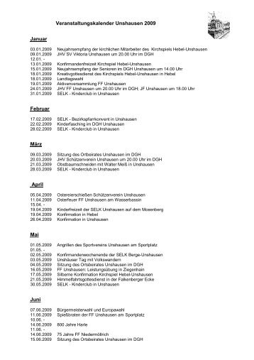 Veranstaltungskalender Unshausen 2009 Januar Februar März ...