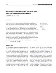 Photocatalytic hydrogen generation from water under visible light ...