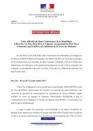 INFORMATION MEDIAS Visite officielle du Haut-Commissaire de la ...