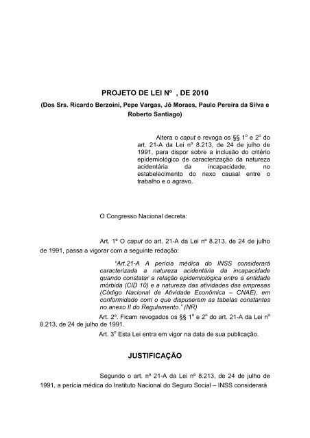 PROJETO DE LEI Nº , DE 2010 JUSTIFICAÇÃO