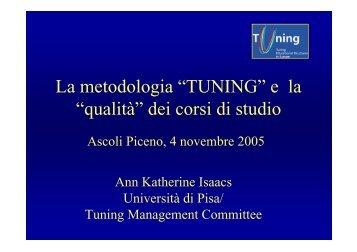 """La metodologia """"TUNING"""" e la """"qualità"""" dei corsi di studio"""