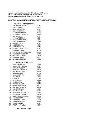 definitive lists yr2 2008 2009