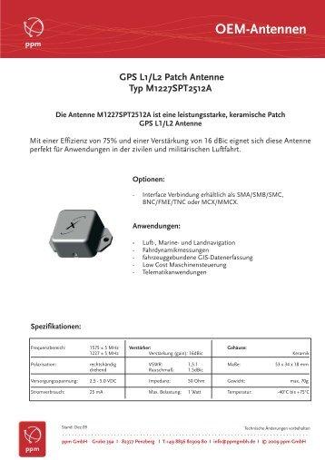 GPS L1/L2 Patch Antenne Typ M1227SPT2512A - ppm GmbH
