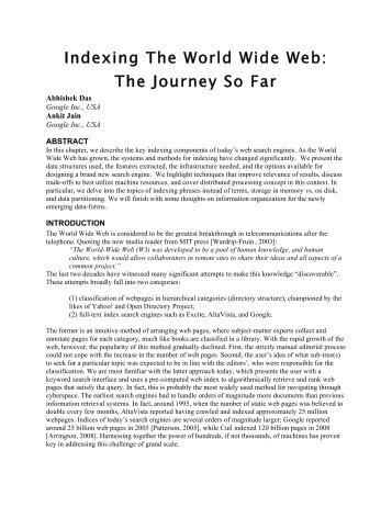 Indexing The World Wide Web: The Journey So Far - Dejan SEO