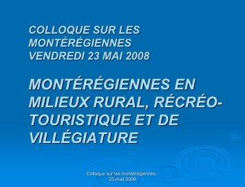 Montérégiennes en milieux rural, récréo-touristique et de villégiature