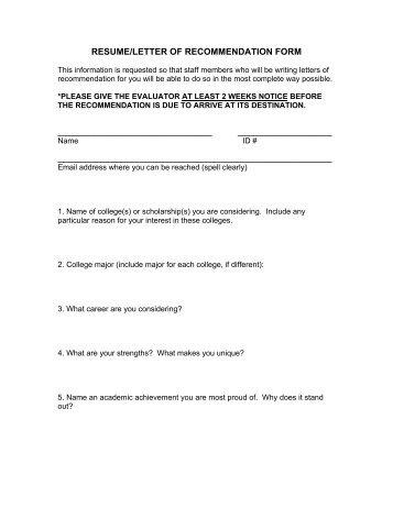 resumeletter of recommendation form