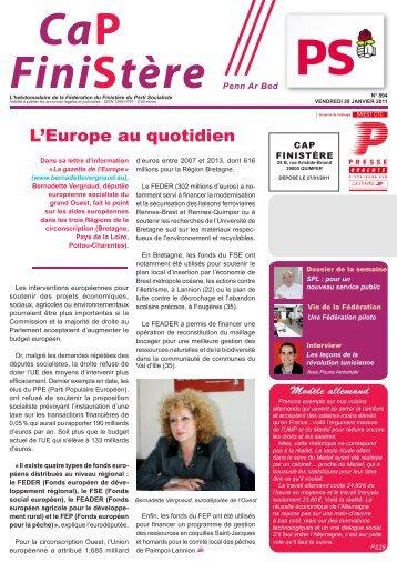 L'Europe au quotidien - Fédération du Finistère du Parti socialiste
