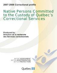 2007-2008 Correctional profile - Ministère de la Sécurité publique