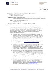 OFCCP Policy Update Webinar Notes - Maly Consulting LLC