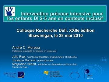 Intervention précoce intensive pour les enfants DI 2-5 ans en ...