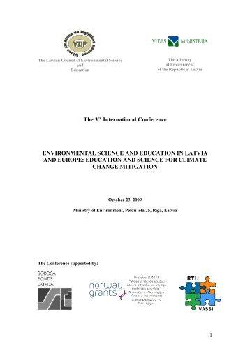 Papildus informācija - Klimata maiņas ietekme uz Latvijas ūdeņu vidi