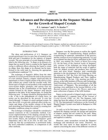 New Advances and Developments in the Stepanov Method for the ...