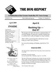 The Bug Report - GSBUG - Association of Personal Computer User ...