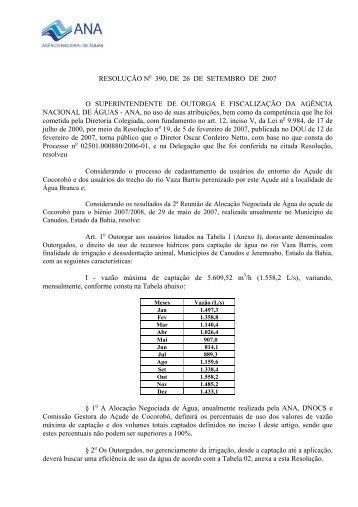 RESOLUÇÃO N 390, DE 26 DE SETEMBRO DE 2007 O ... - Ana