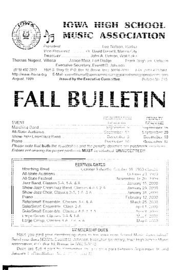 Fall Bulletin No. 215 - August 1999 - The Iowa High School Music ...