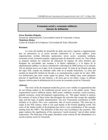 la economía social, un concepto reactualizado - SABER-ULA ...