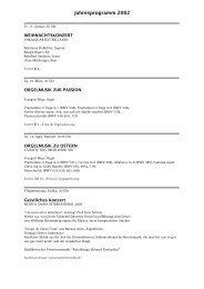 Jahresprogramm 2002 - Kirchenmusik an der Dreifaltigkeitskirche ...