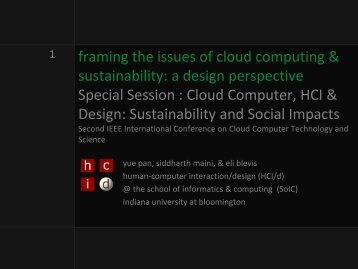 framing the issues of cloud computing & sustainability: a ... - salsahpc