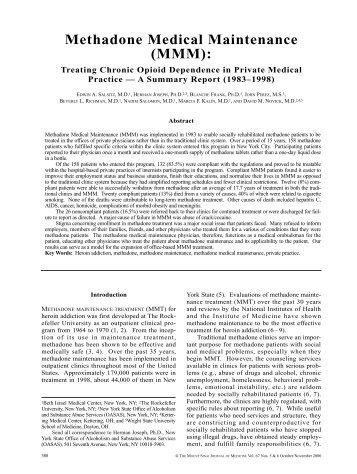 Methadone Medical Maintenance - Drug Policy Alliance