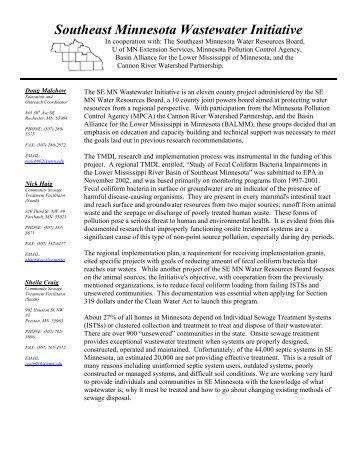 Southeast Minnesota Wastewater Initiative - Onsite Sewage ...
