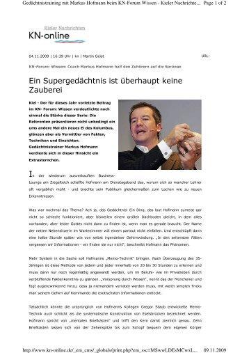 091104 Kieler Nachrichten - Markus Hofmann