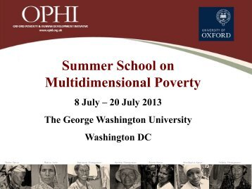 Unidimensional poverty measurement - OPHI