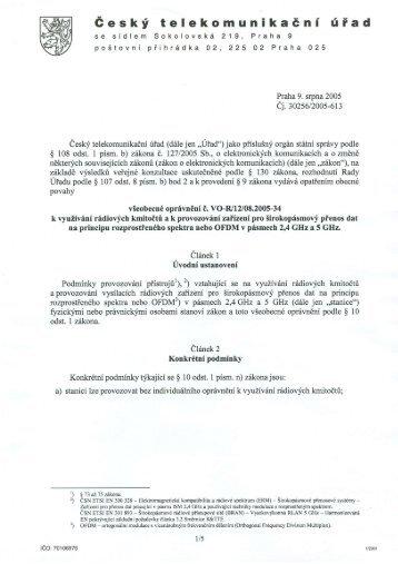 všeobecné oprávnění č. VO-R/12/08.2005-34 - mojeWiFi