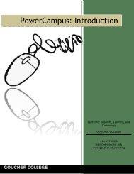 PowerCampus Basics - Goucher College