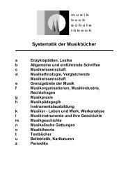 Bibliothek Systematik der Musikbücher - Musikhochschule Lübeck