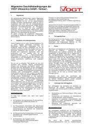 Allgemeine Geschäftsbedingungen der VOGT Ultrasonics GmbH ...