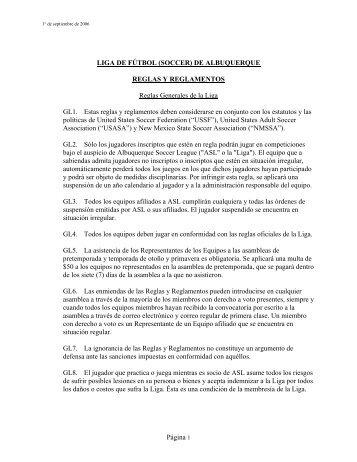 (SOCCER) DE ALBUQUERQUE REGLAS Y REGLAMENTOS ...