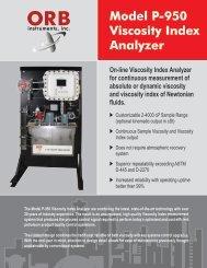 Model P-950 Viscosity Index Analyzer - OrbInstruments.com