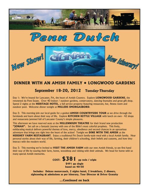 DINNER WITH AN AMISH FAMILY • LONGWOOD ... - Friendship Tours
