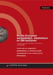 Notitie Europees aanbesteden, staatssteun en SW-bedrijven
