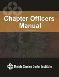 2011 Chapter Officer's Manual (PDF) - Metals Service Center Institute