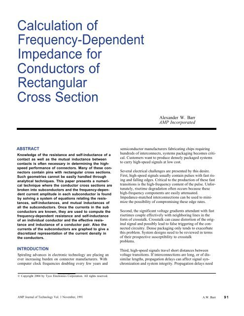 Calculation of Frequency-Dependent Impedance     - TE