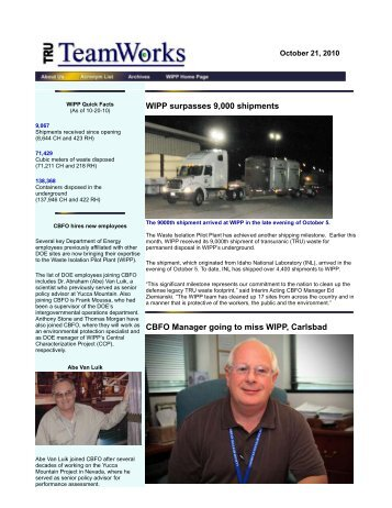 October 21 - Waste Isolation Pilot Plant - U.S. Department of Energy