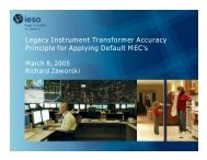 Legacy Instrument Transformer Accuracy Principle for ... - IESO